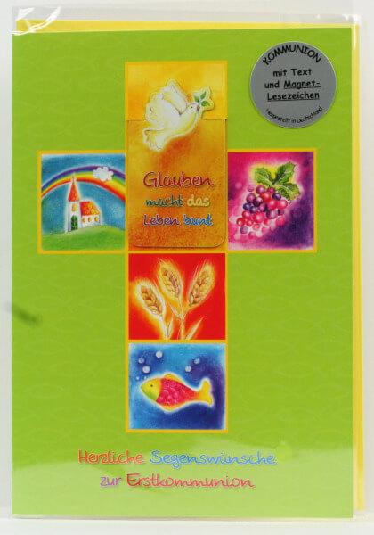 Kommunionkarte - Kreuz & Lesezeichen