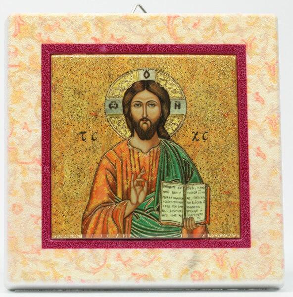Ikone - Christus & Farbiger Rahmen