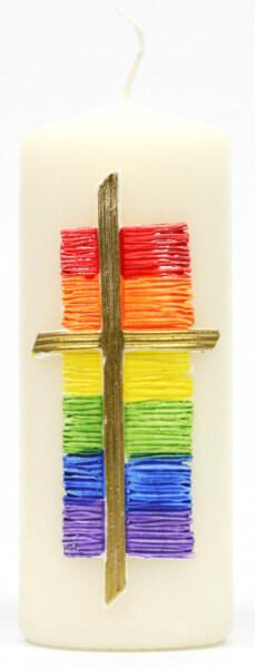 Tischkerze - Kreuz & Regenbogen