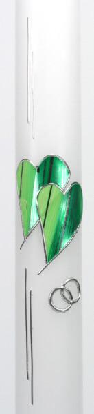Brautkerze - Grüne Herzen & Ringe