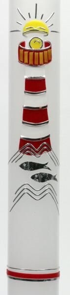 Taufkerze - Leuchtturm & Rot