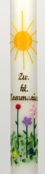 Kommunionkerze - Sonne & Blumenwiese