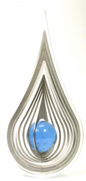 Windspiel - Tropfen & Blaue Glaskugel