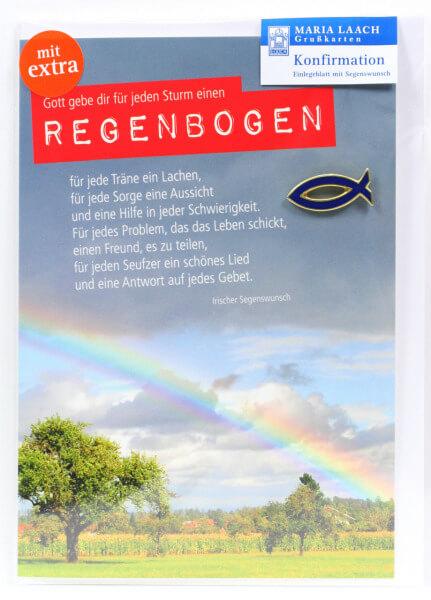 Konfirmationkarte - Regenbogen & Fisch Anstecker