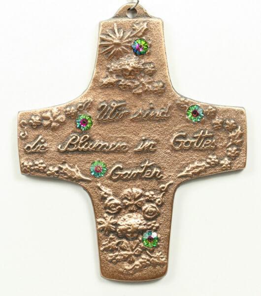 Kommunionkreuz - Blumen in Gottes Garten & Strasssteine