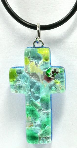Halskette - Kreuz & Muranoglas Grün
