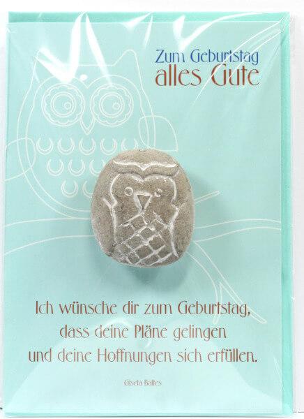 Geburtstagskarte - Stein-Eule & Deine Pläne