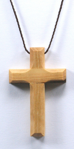 Halskette - Olivenholz-Kreuz & Länglich