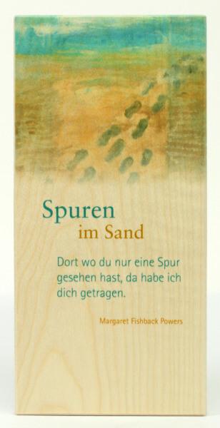 Holzbildtafel - Spuren im Sand