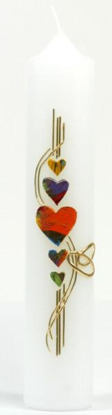 Tischkerze - Farbige Herzen & Ringe