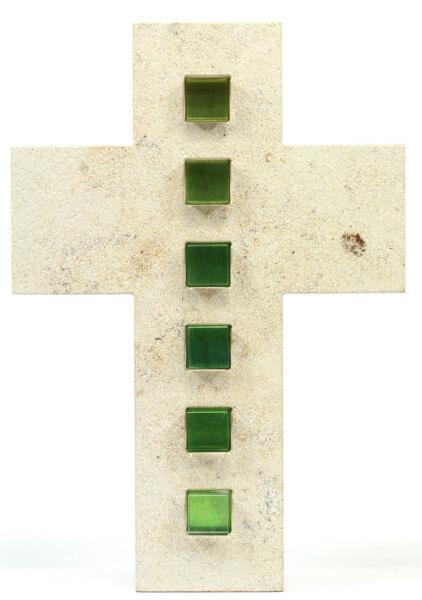 Natursteinkreuz - Marmor & Grün