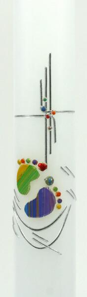 Taufkerze - Kinderfüße & Kreuz