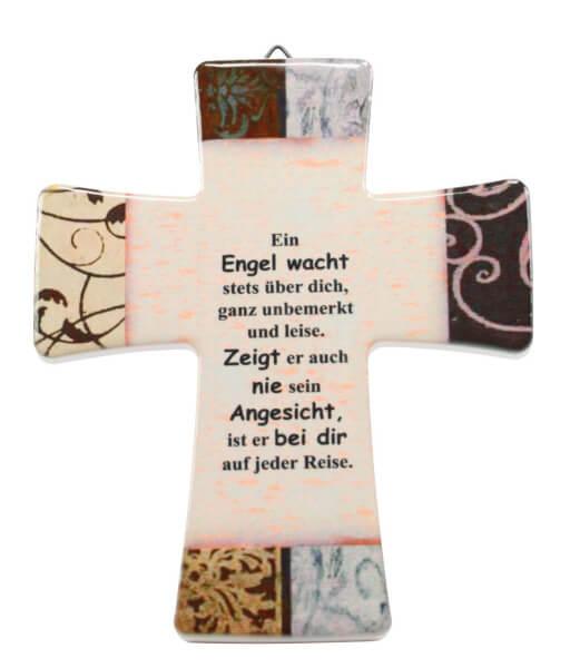 Keramik Kreuz - Ein Engel wacht stets über dich
