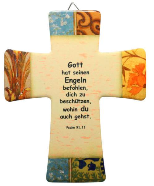 Keramik Kreuz - Gott hat seinen Engeln befohlen & ...