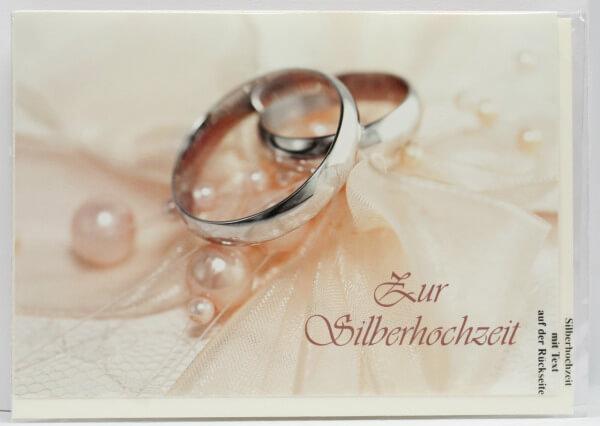Silberhochzeitskarte - Zwei Ringe & Verbundenheit