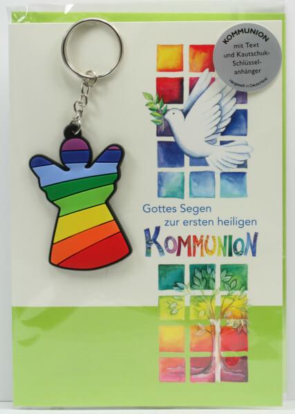 Kommunionkarte - Gottes Segen & Engelanhänger