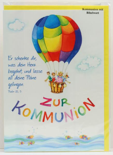 Kommunionkarte - Heißluftballon & Kinder