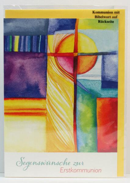 Kommunionkarte - Farbiges Kreuz