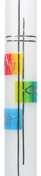 Taufkerze - Silber-Kreuz & Regenbogenfarben