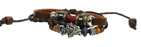 Armband - Farbiges Leder & Perlen
