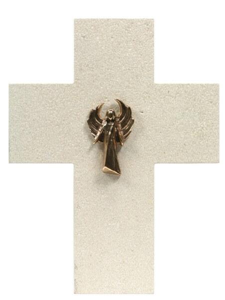 Naturstein-Kreuz - Moderner Bronzeengel