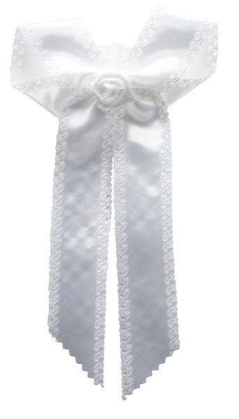 Taufschleife - Weiße Rose