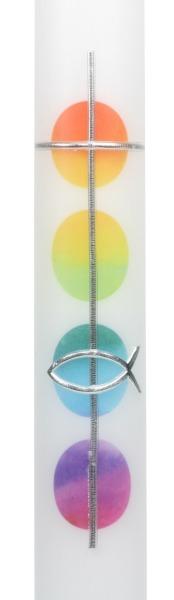 Taufkerze - Regenbogen Punkte & Kreuz