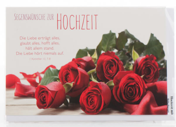 Karte zur Hochzeit - Die Liebe hört niemals auf