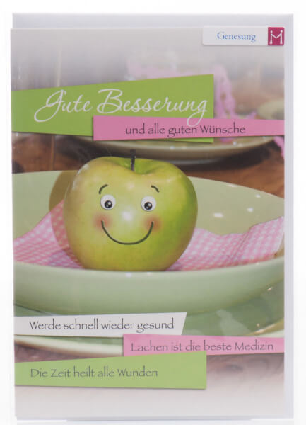 Karte zur Genesung - Lächelnder Apfel
