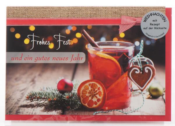 Weihnachtskarte - Frohes Fest & Glühweinrezept