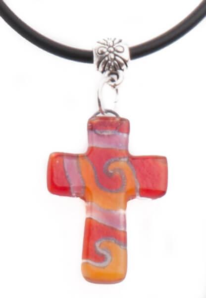 Halskette - Glaskreuz & Rottöne