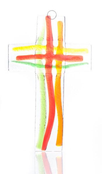 Glaskreuz - Regenbogenfarben