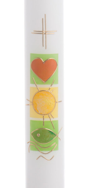 Taufkerze - Grüne Symbole & Goldrand