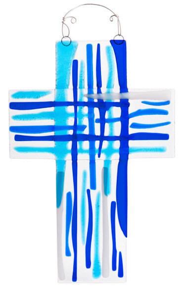 Glaskreuz - Streifen & Blautöne
