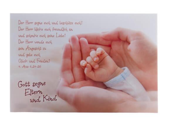 Karte zur Geburt - Hand in Hand