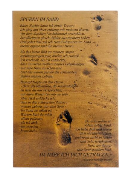 Neutrale Karte - Spuren im Sand & Ganzer Text