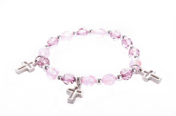 Armband - Kreuze & Rosa-Weiße Perlen