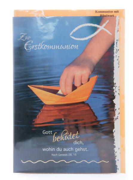 Karte zur Kommunion - Gott behütet dich & Papierschiffchen
