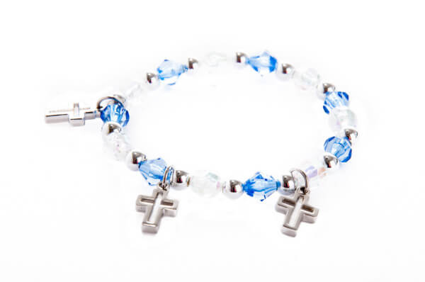 Armband - Kreuze & Blau-Weiße Perlen