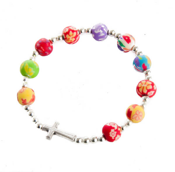 Armband - Farbige Perlen & Kreuz
