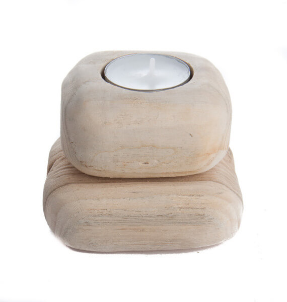 Teelichthalter - 2 Steine & Holz