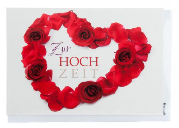 Karte zur Hochzeit - Herz aus roten Rosen