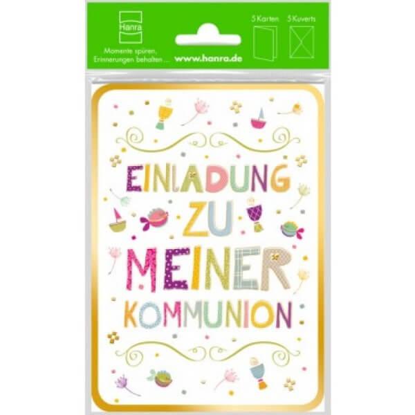 Einladungskarte zur Kommunion - Farbenfroh & 5er Set