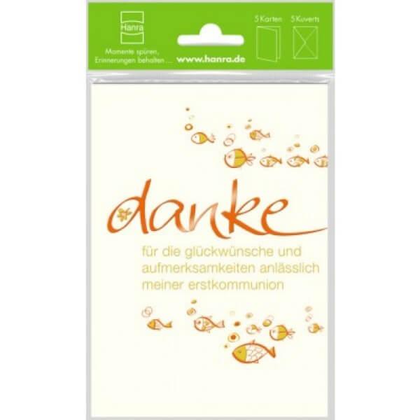 Danksagungskarte zur Kommunion - Schwarm Fische & 5er Set
