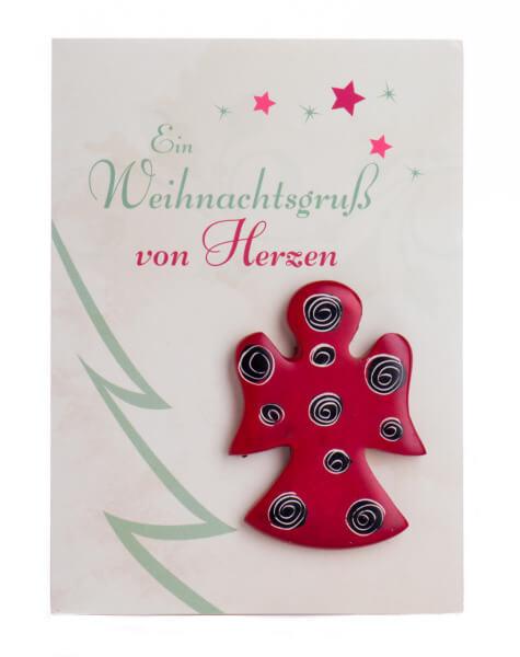 Weihnachtskarte - Speckstein-Engel & Weihnachtsgruß