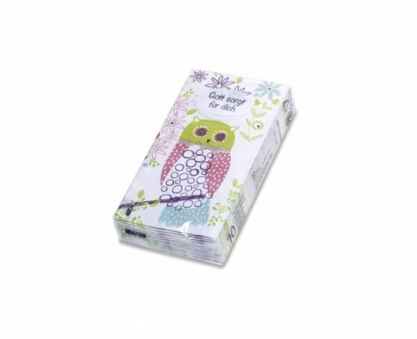 Papiertaschentücher - Gott sorgt für dich & Eule
