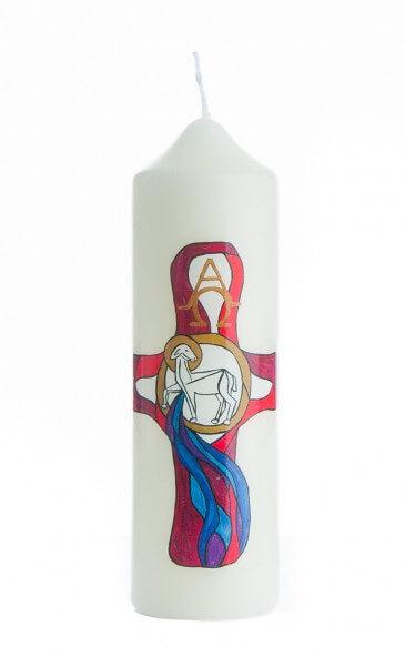 Osterkerze - Lamm & Farbiges Kreuz