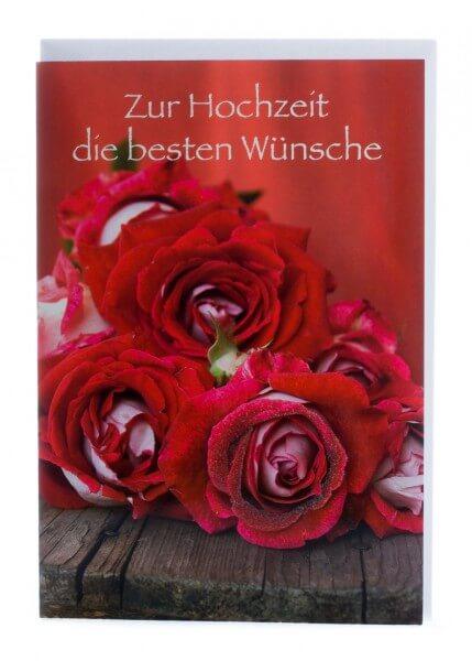 Karte zur Hochzeit - Rote Rosen
