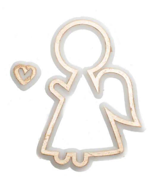 Wachssymbol - Engel seitliche Kontur & Herz
