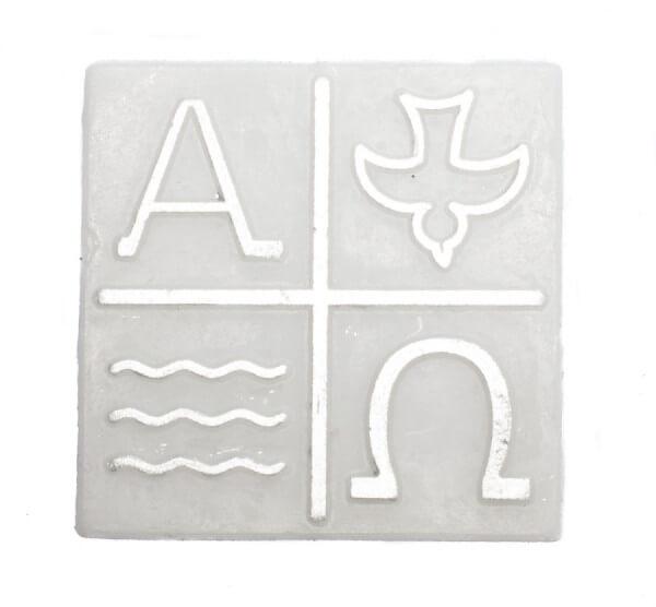 Wachssymbol - Kreuz & Welle, Taube, Alpha, Omega